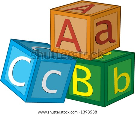 Children's 3D alphabet cubes with letters A,B,C.