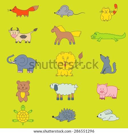 Children's drawing animals: wolf, fox, cat, rabbit, cow, sheep, crocodile, elephant, lion, pig, bear, hedgehog, mouse, turtle, horse. - stock vector