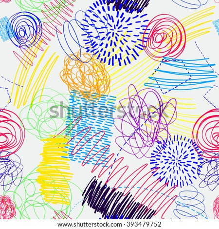 Children's drawing by hand, doodle, dots, lines, vector colorful pattern, drawing pens. - stock vector