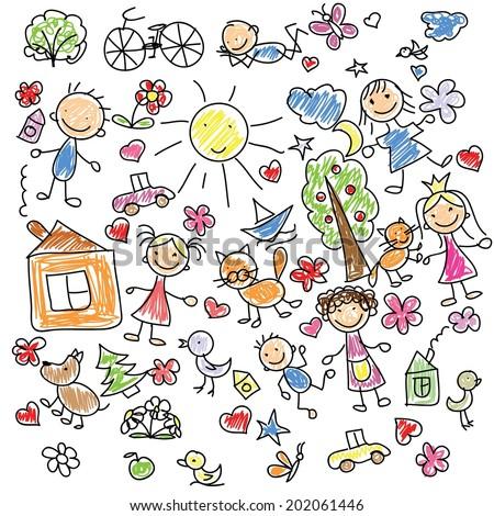 Children's drawings  - stock vector