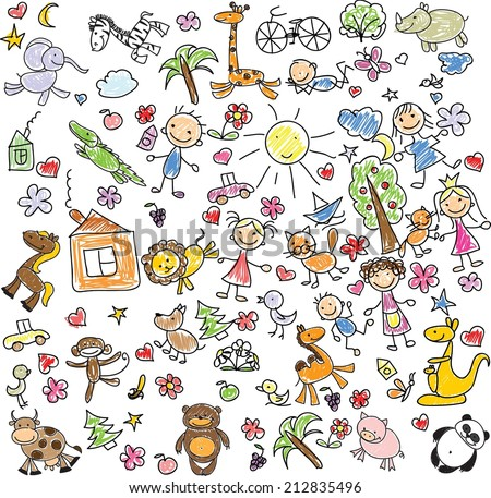 Kids drawing stock images royalty free images vectors - Animal drawwing kids ...