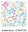 Children's drawings. Vector  background. - stock vector