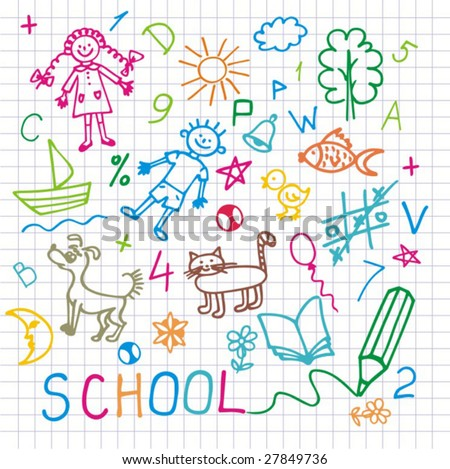 Children's drawings. Vector  background. - stock vector