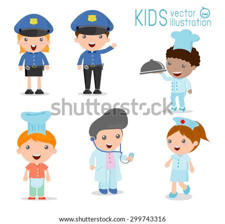 Children's dream jobs, professions in dream for kids, Happy children in work wear.Vector Illustration. - stock vector