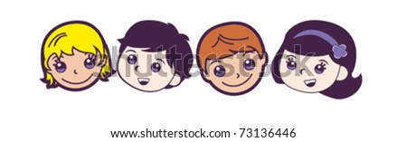 Children's faces in a row - stock vector