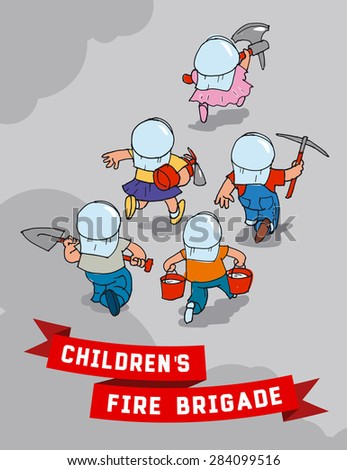 Children's fire team hurries to extinguish the fire - stock vector