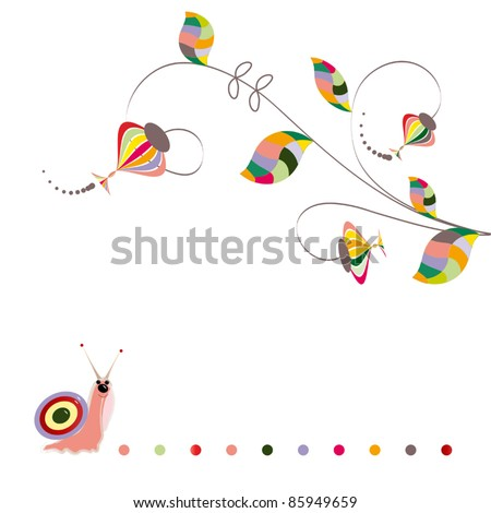 Children's floral pattern with a snail - stock vector