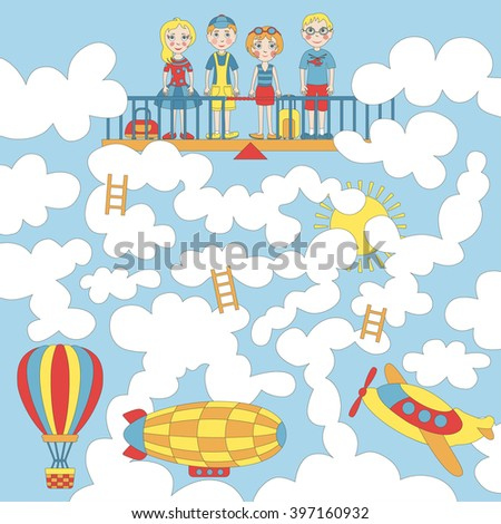Children's game (maze): boys and girls are waiting for air transport. Developing game for children. The picture shows childrenl, airplane, balloon, dirigible, sky, clouds. - stock vector