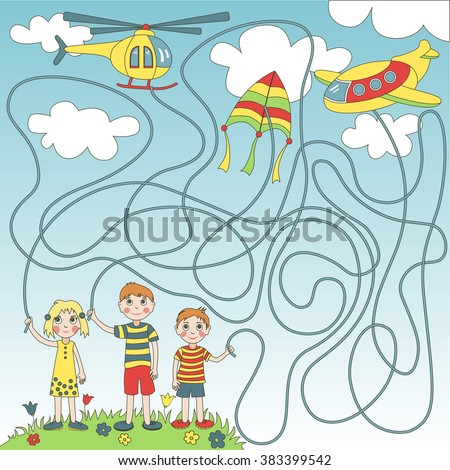 Children's game (maze): children start in the sky plane, helicopter and  kite. Developing game for children. The picture shows boy, girl, plane, helicopter, kite, sky, clouds. - stock vector