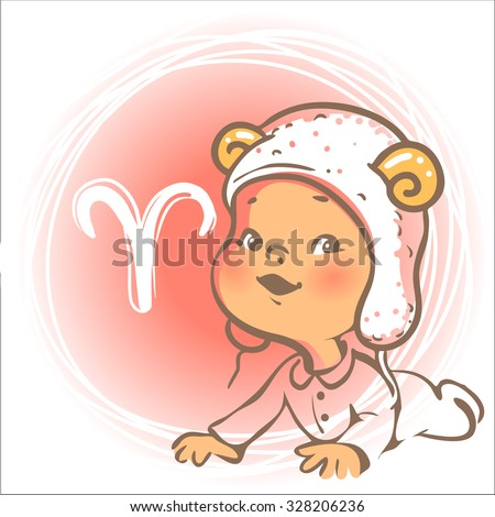 Children's horoscope icon. Kids zodiac. Cute little baby boy or girl as Aries astrological sign. Funny animal hat with horns. Colorful vector illustration. Astrological symbol as cartoon character. - stock vector