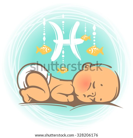 Children's horoscope icon. Kids zodiac. Cute little baby boy or girl as Pisces astrological sign. Colorful vector illustration. Newborn baby sleeping.  Astrological symbol as cartoon character. - stock vector