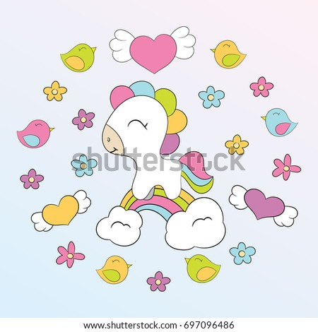 Children's illustration with cute horse and elements - flowers, hearts, birds. Best Choice for cards, invitations, prints or baby shower albums, arts and scrapbooks.
