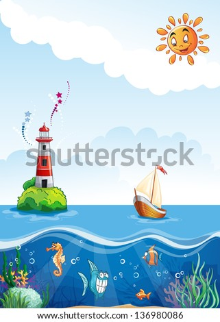 Children's illustrations of sea with lighthouse, sailing and fun fish. - stock vector