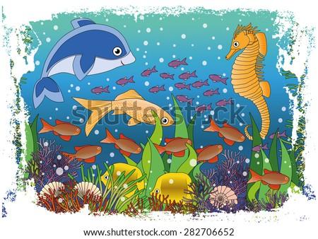 Children's maritime background, vector illustration - stock vector