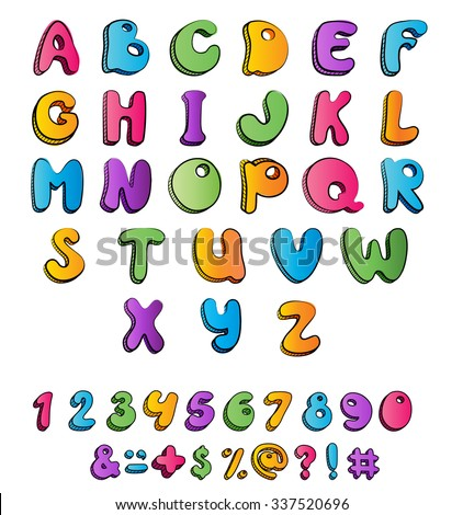 Children's multicolored cartoon ABC for your design. Available all letters. Vector illustration.