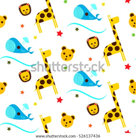 Children's pattern with giraffe and whale