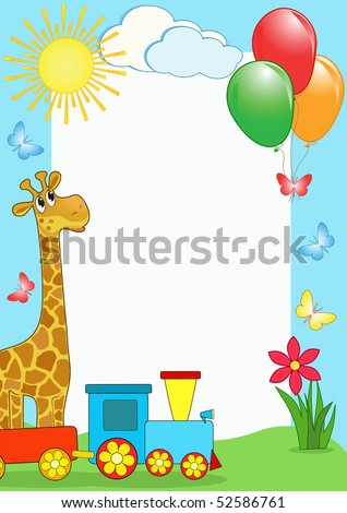 Children's photo framework. Giraffe and train. Vector  illustration.