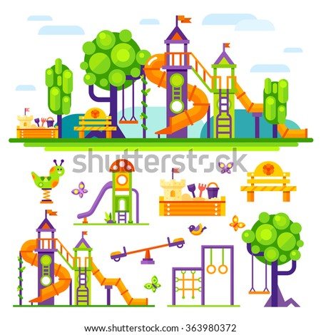 Children's  playground. Teeter board, Swings, sandpit, sandbox, bench, tree house, children  slide. Baby-themed flat stock illustration with isolated elements.  - stock vector
