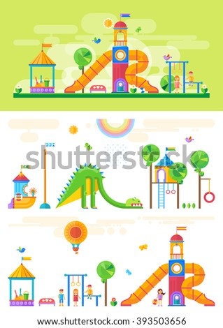 Children's playground with slide, swings, sandbox and other elements. Amusement park for children. Vector flat design illustration - stock vector