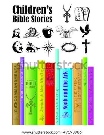 Children's Religious Story Books.Use to advertise a church library corner or to help children understand biblical stories. - stock vector