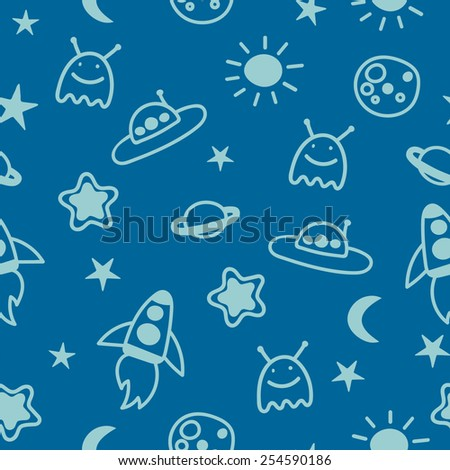 children's seamless background with space, rockets, aliens and stars - stock vector