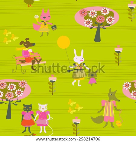 children's spring background with walking animals - stock vector