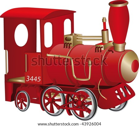 Children's toy red steam locomotive - stock vector