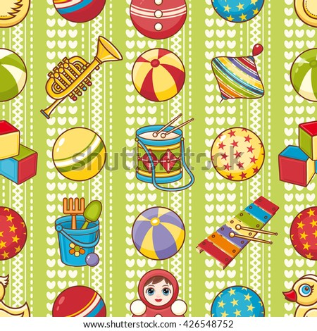 Children's toy. Seamless pattern. Vector illustration.