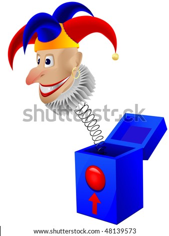 Children's toy the clown - a joker in a box with a spring in a vector isolated on a white background - stock vector