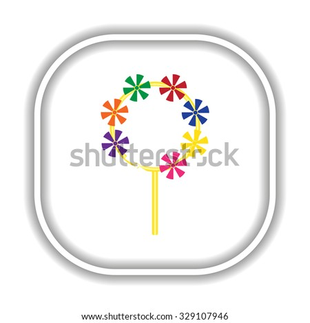 Children's toy wind mill, turntables, pinwheel wind vane.  Modern design flat style icon - stock vector