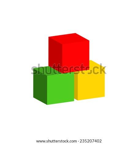 Children's toys, blocks, designer. Vector illustration. - stock vector