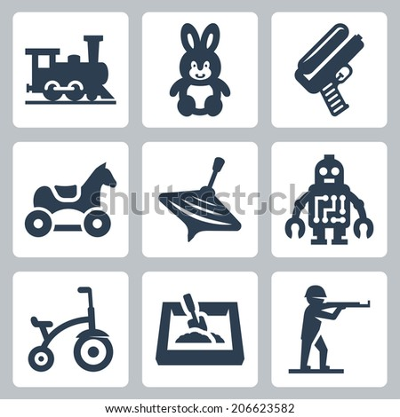 Children's toys vector icons set: train, hare, water gun, horse, humming-top, robot, tricycle, sandbox, plastic toy soldier - stock vector