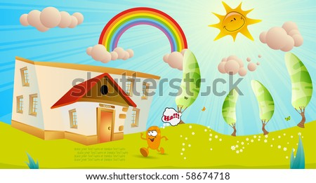 Children's vector background. On first of September - stock vector