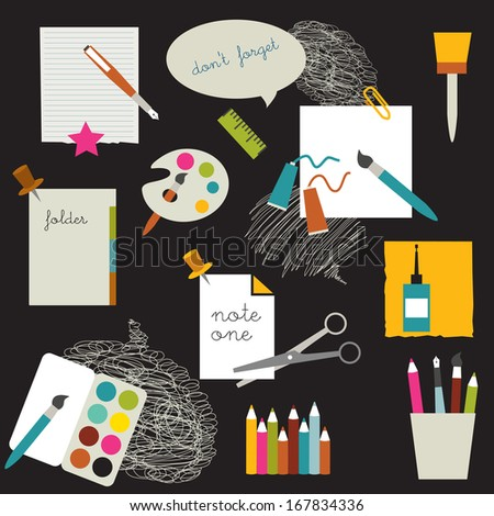 Children school stuff. - stock vector
