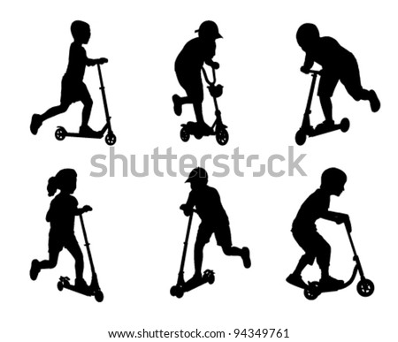 children scooting silhouettes - stock vector
