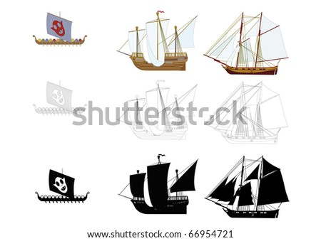 Children ship - stock vector