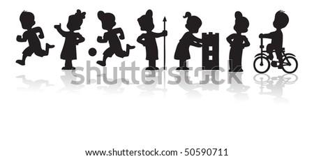 Children silhouette set - stock vector