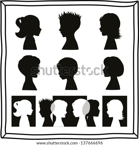 Children silhouettes and banner - stock vector