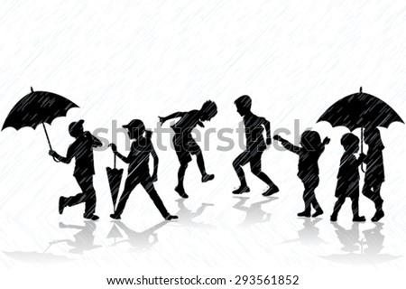 Children silhouettes enjoy the rain