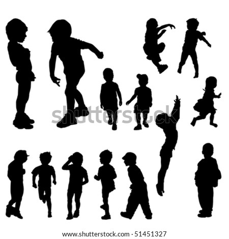 children silhouettes in different positions, illustration - stock vector