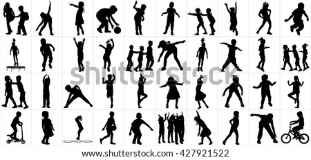 Children silhouettes playing outdoor isolated on white background. Collection of happy children in different positions. Kid play on playground. Kid gymnastics in different position.