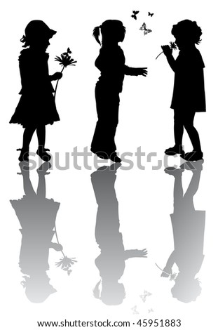 Children silhouettes with flowers and butterfly - stock vector
