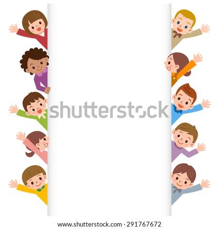 Children smile waving - stock vector