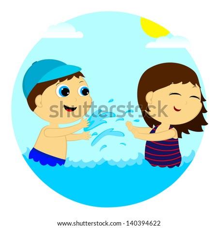 children splash in the water - stock vector