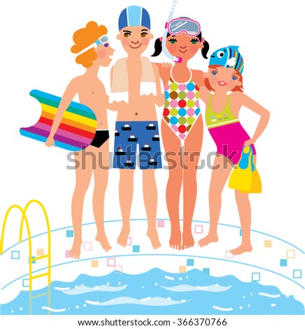 Children standing near swimming pool. Boy with board, girl in mask, little girl with flippers. - stock vector