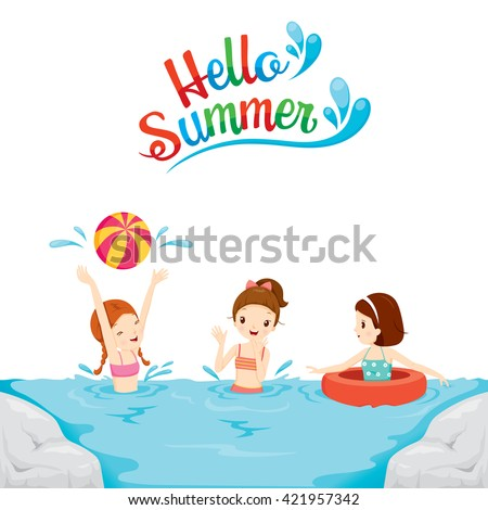 Children Swimming, Playing Water In The Sea, Summer, Beach, Swimming, Sea, Vacations, Holiday, Trips, Travel, Transportation, Relationship, Lifestyle, Activity - stock vector