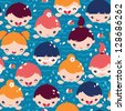 Children swimming seamless pattern background - stock vector