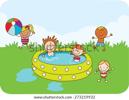 children swimming with happy - stock vector