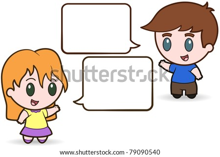 Children Talking - vector illustration