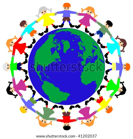 Children to keep for hands round a planet - stock vector